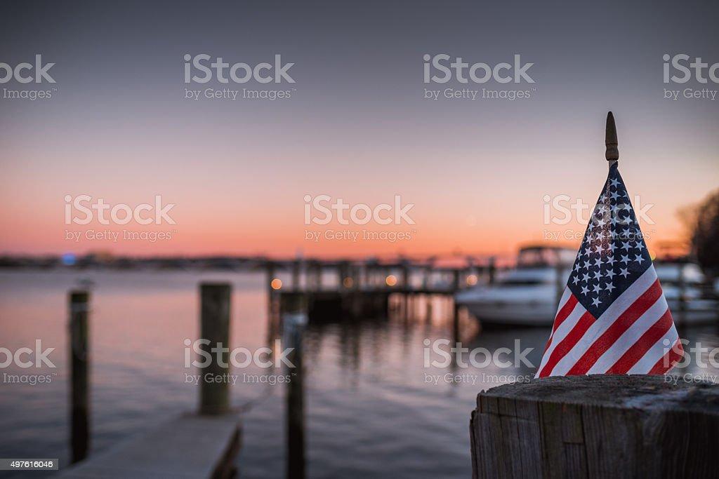 American Flag Sunset stock photo