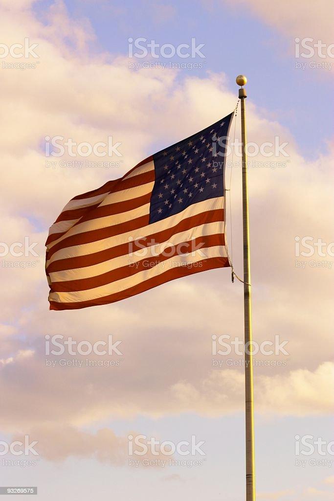 American Flag Sunset royalty-free stock photo