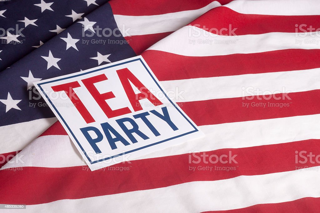 American Flag -  Tea Party stock photo