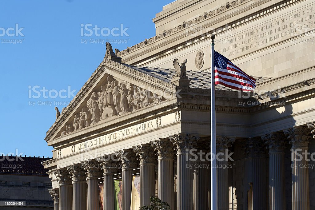 American Flag Waves in Archives royalty-free stock photo