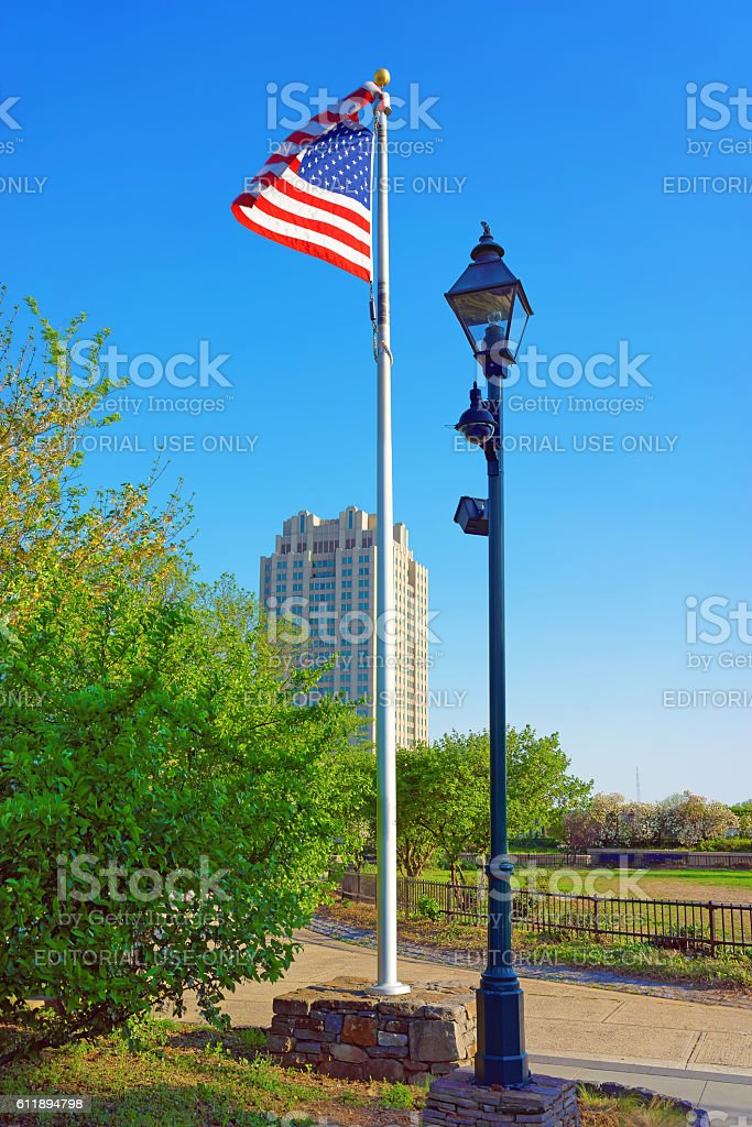 American Flag waving by the wind in parkway of Philadelphia stock photo