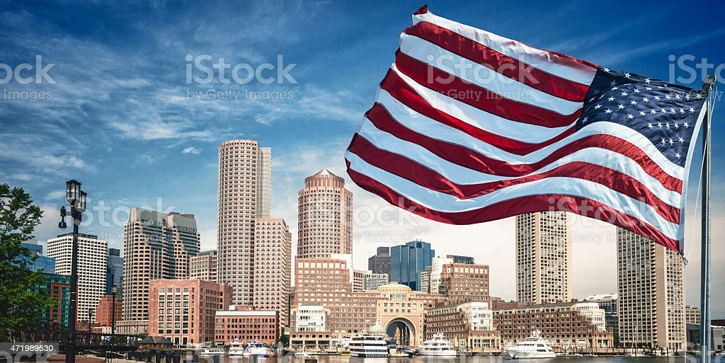 american flag waving for a national holiday in Boston stock photo