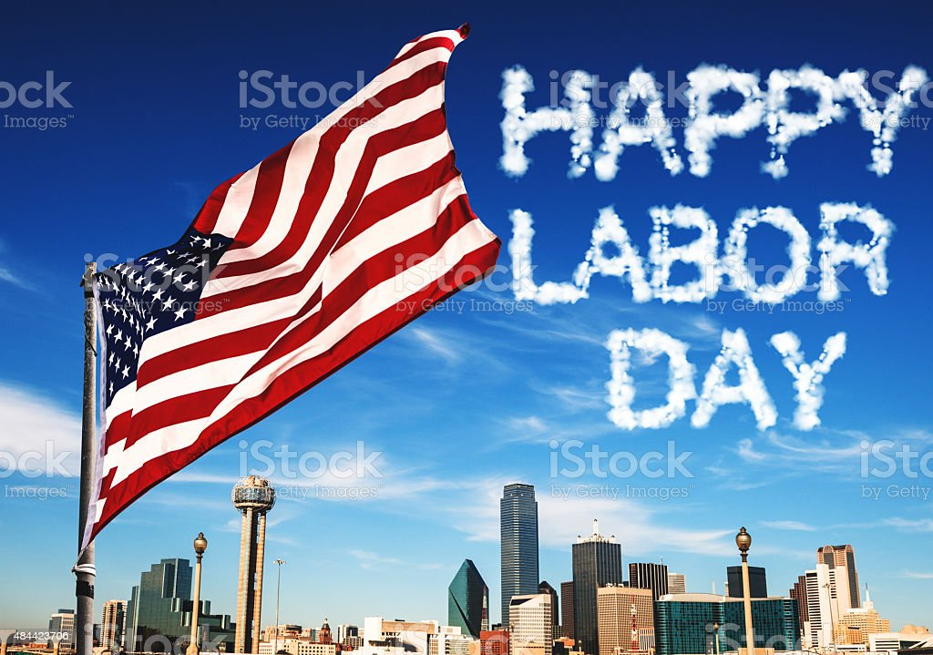 american flag waving for a national holiday in Dallas stock photo