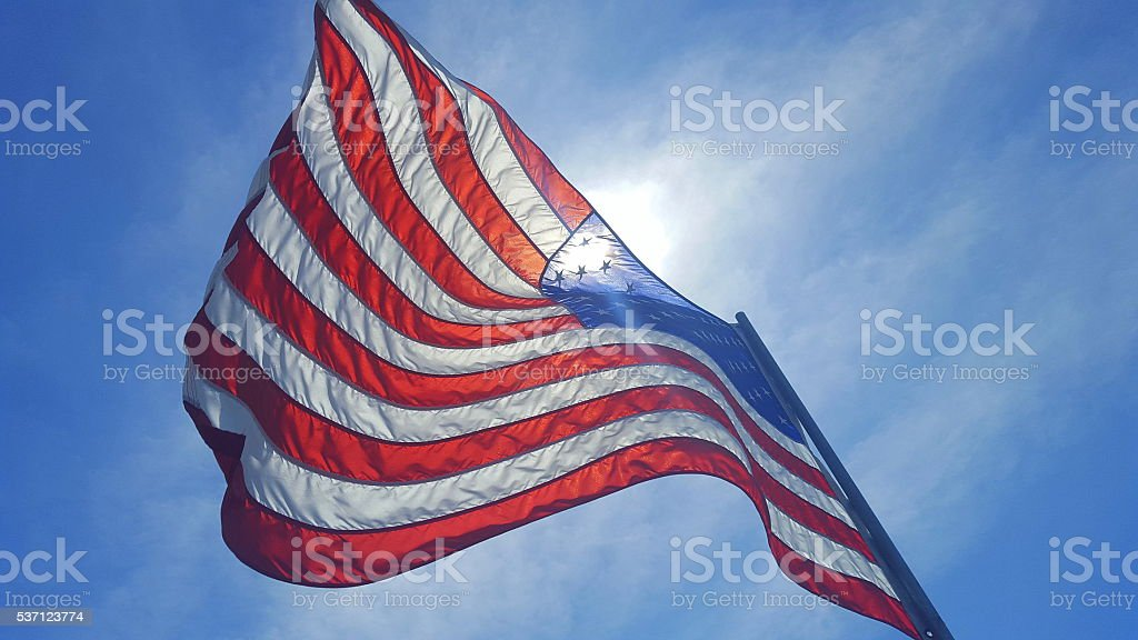 American Flag Waving in the Iowa Wind stock photo