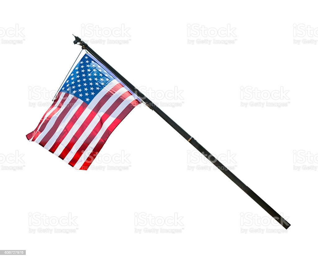 American flag waving isolated on white background. stock photo
