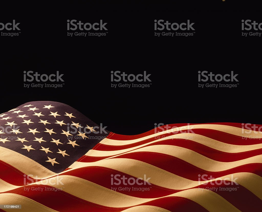 American flag waving on a black background royalty-free stock photo