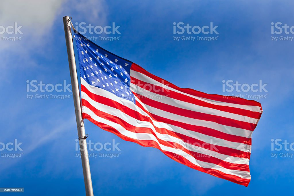 American flag waving stock photo