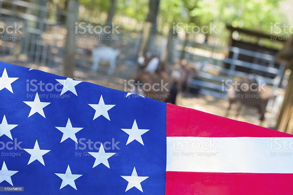 American flag with animals on a rural farm in background royalty-free stock photo