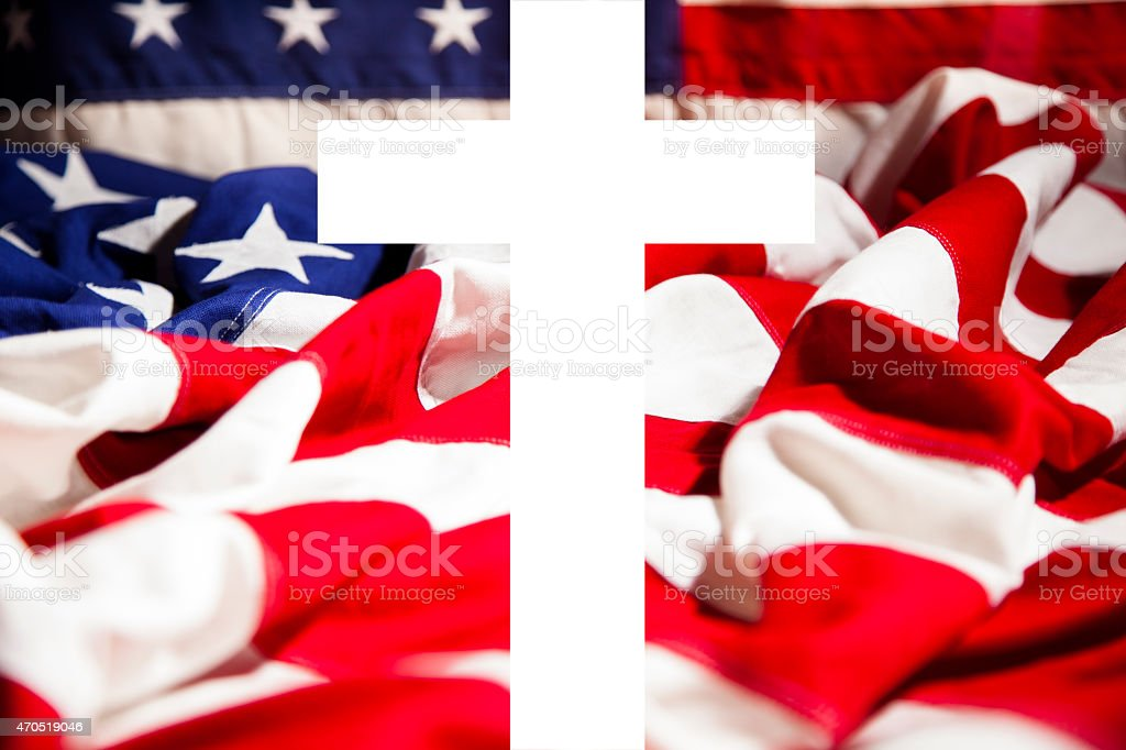 American flag with Christian cross.  Patriotism. Religion. Memorial Day. stock photo