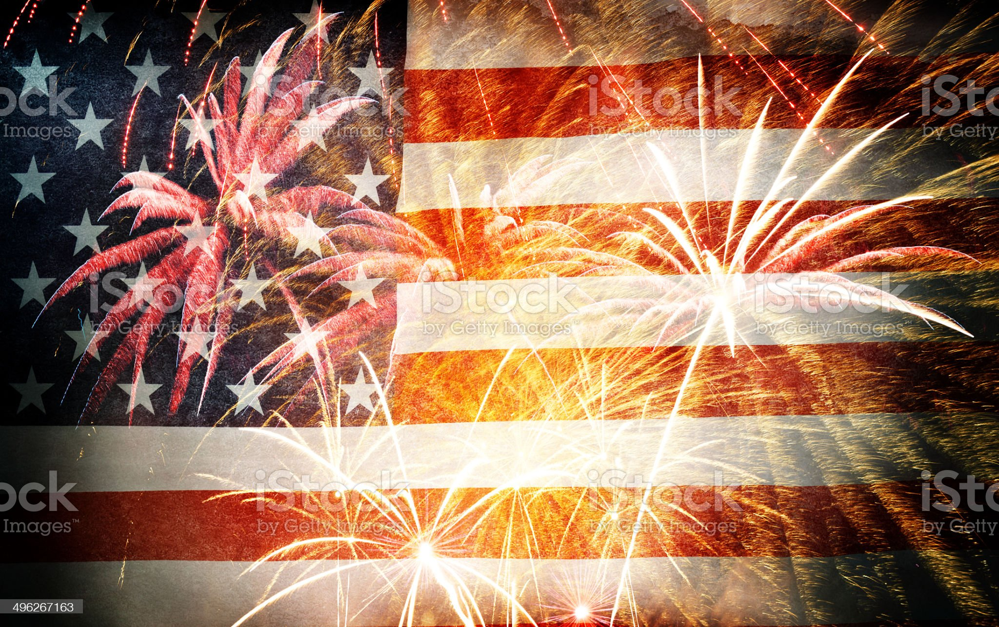 American Flag With Fireworks – Grunge Style royalty-free stock photo