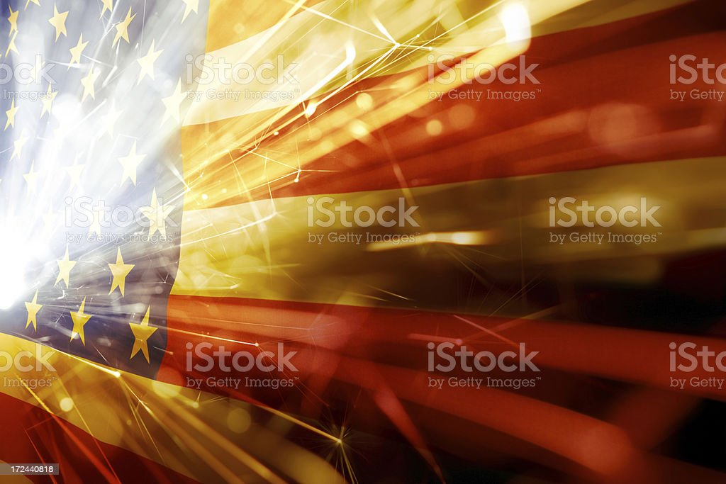 American flag with flared white light over the stars royalty-free stock photo