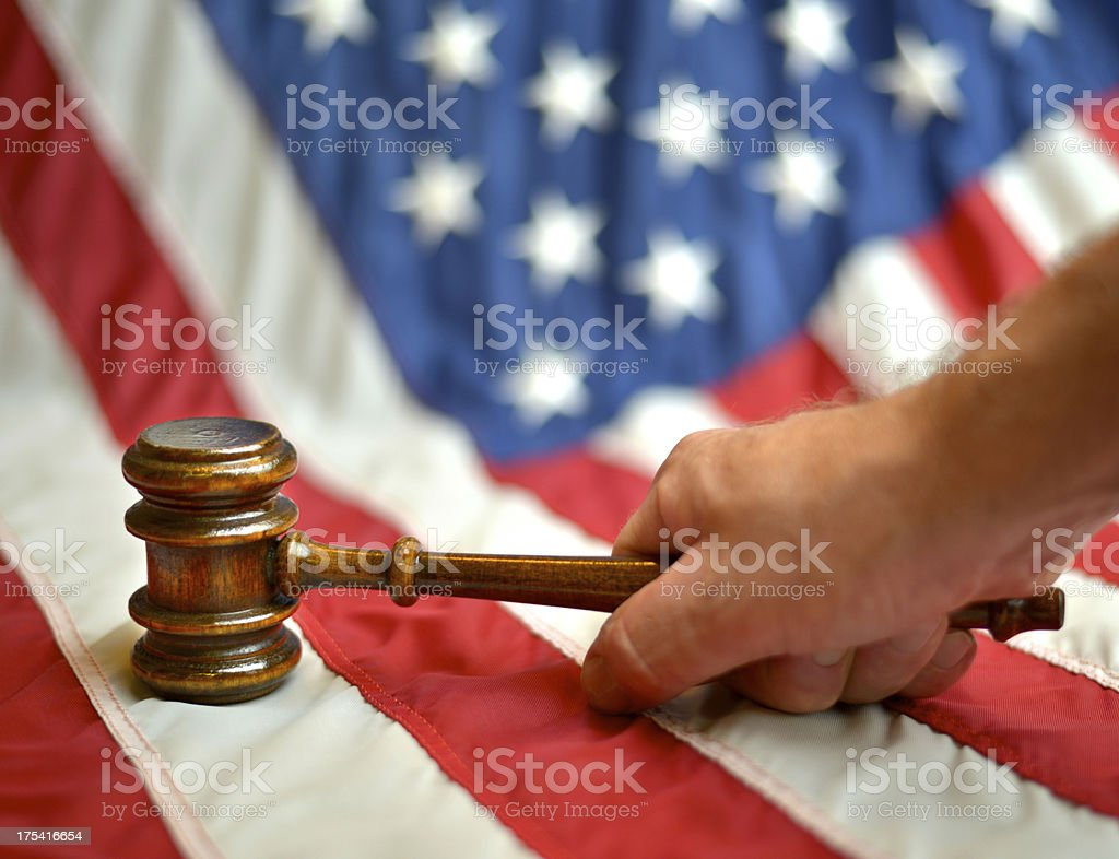 American Flag with Gavel royalty-free stock photo