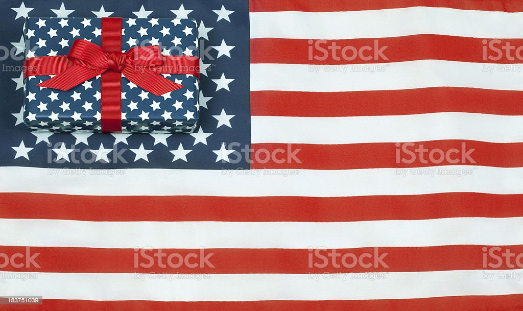 American Flag With Gift royalty-free stock photo