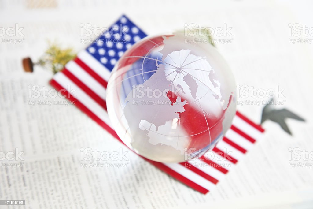 American flag with glass globe royalty-free stock photo