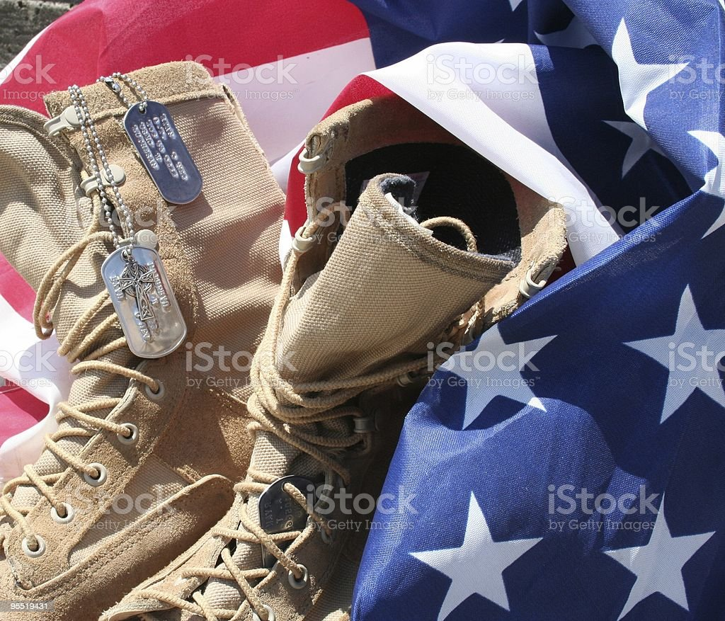 American Flag with Marine boots stock photo