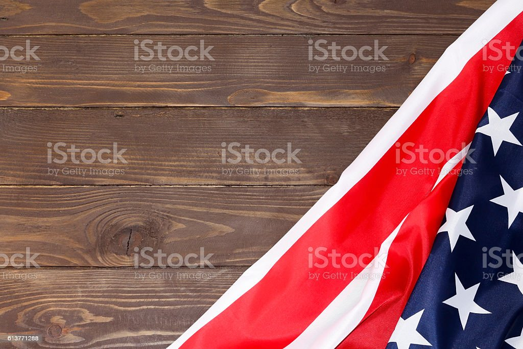 American flag wooden background stock photo