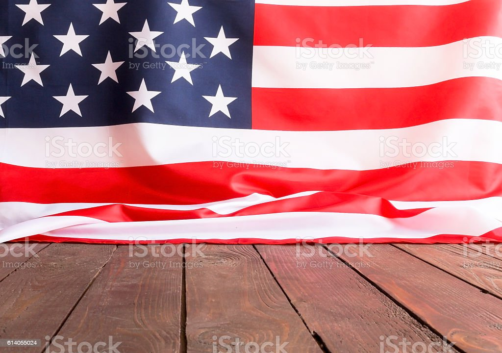 American flag wooden background. stock photo
