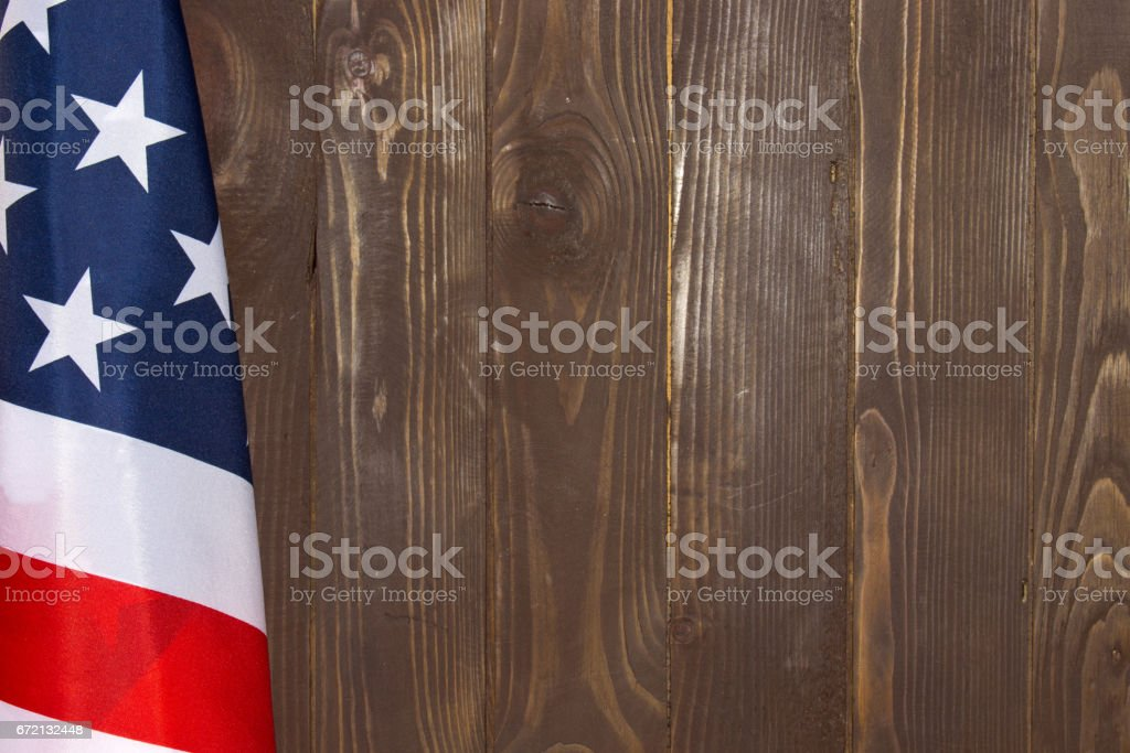 American flag wooden background.The Flag Of The United States Of America. The place to advertise, template. stock photo