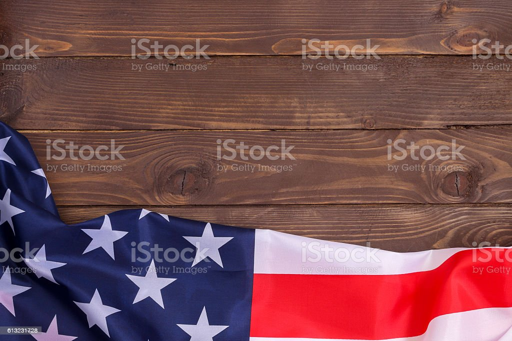 American flag wooden background.The view from the top. stock photo