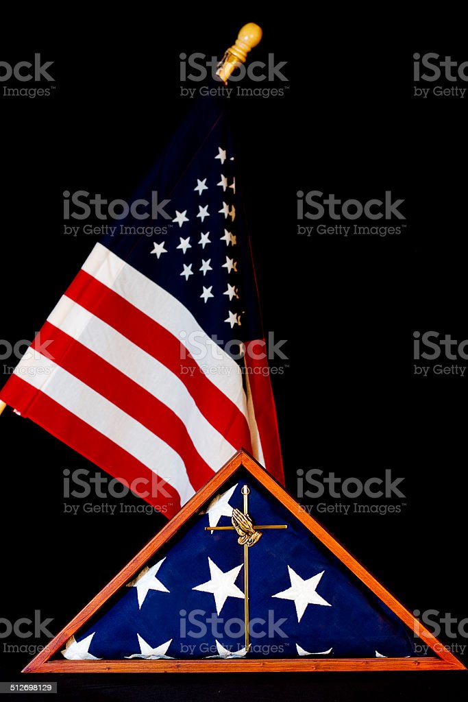 American Flag/Encased/Remembrance stock photo