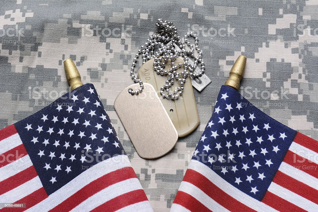 American Flags and Dog Tags stock photo