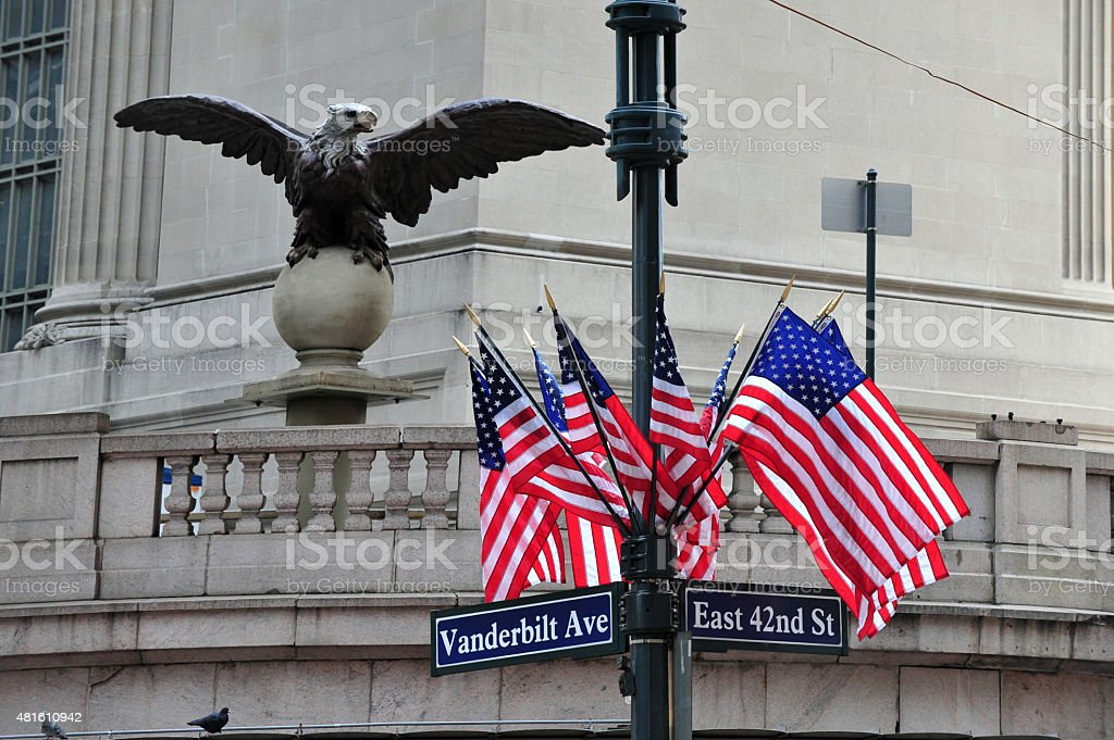 American Flags and Eagle Statue stock photo