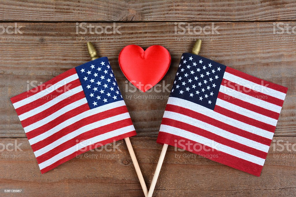 American Flags and Red Heart stock photo