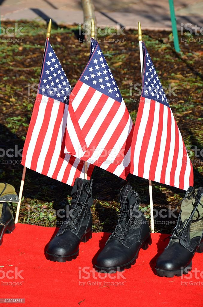 American Flags and Soldiers Boots stock photo