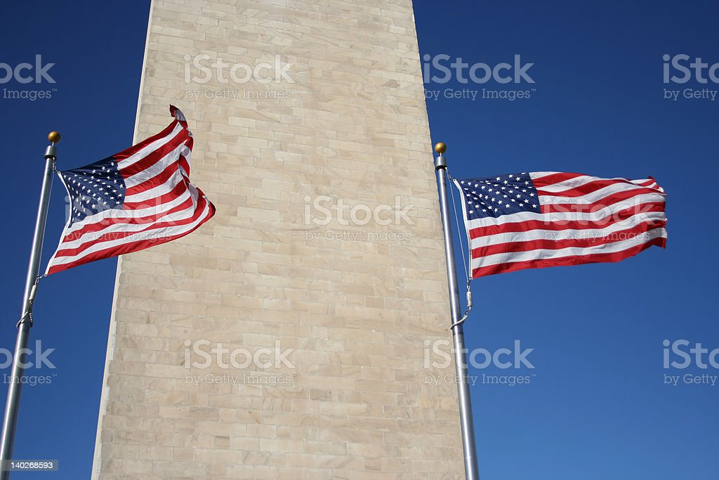 American flags and Washington monument royalty-free stock photo