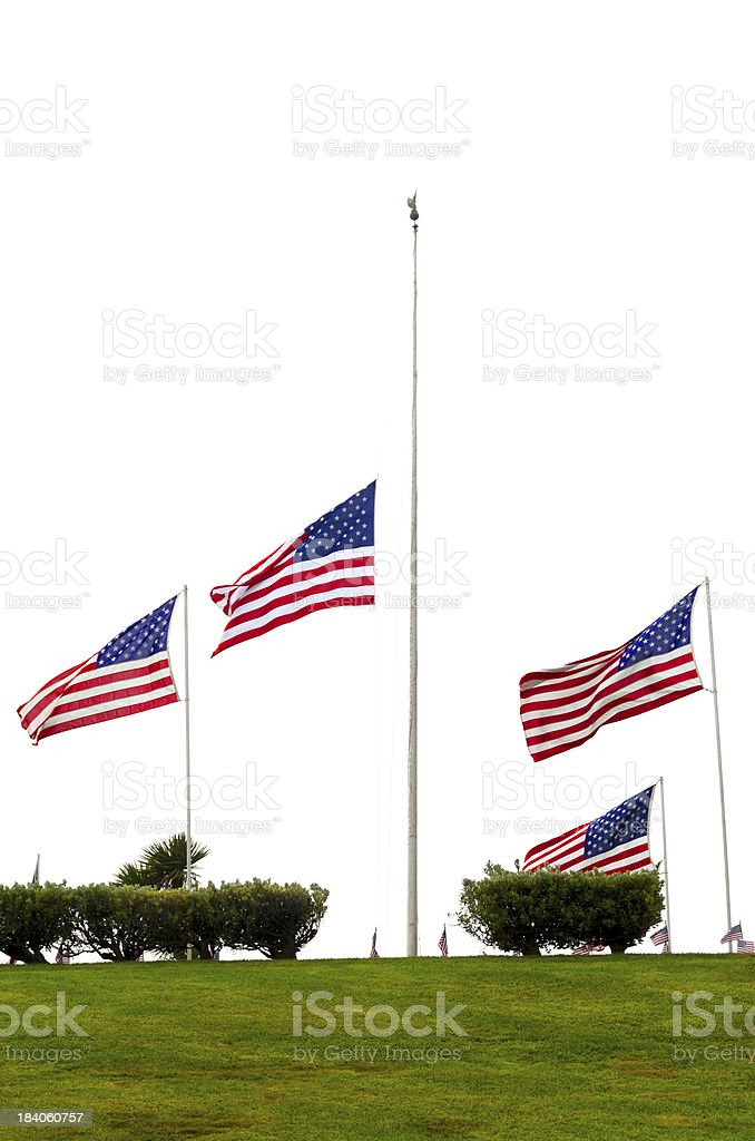 American Flags at Half Mast stock photo