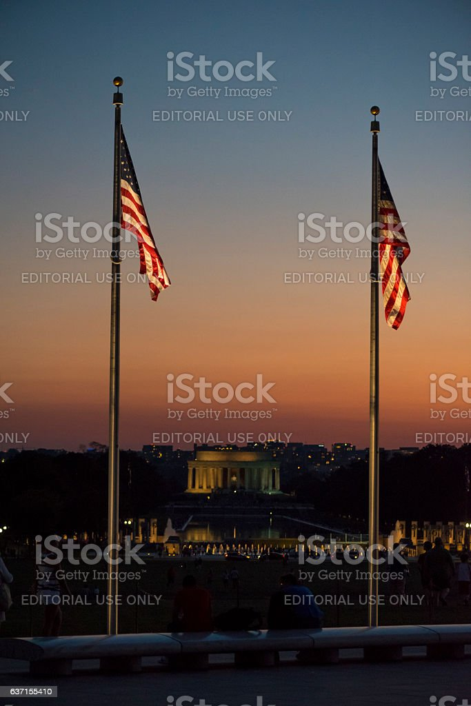 American flags at sunset in Washington DC stock photo