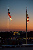 American flags at sunset in Washington DC