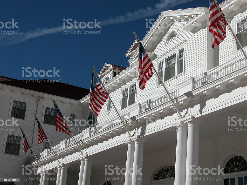 American Flags at the Stanely Hotel stock photo