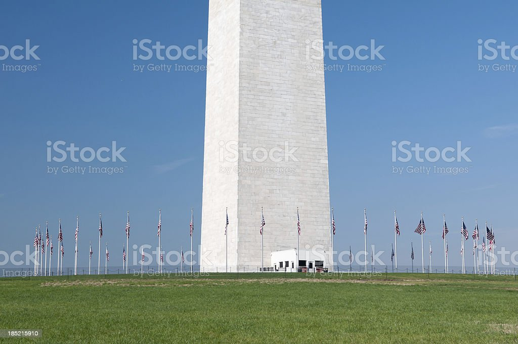 American flags at the Washington Monument royalty-free stock photo