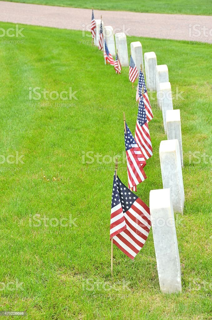 American Flags by Veterans Tombstones stock photo