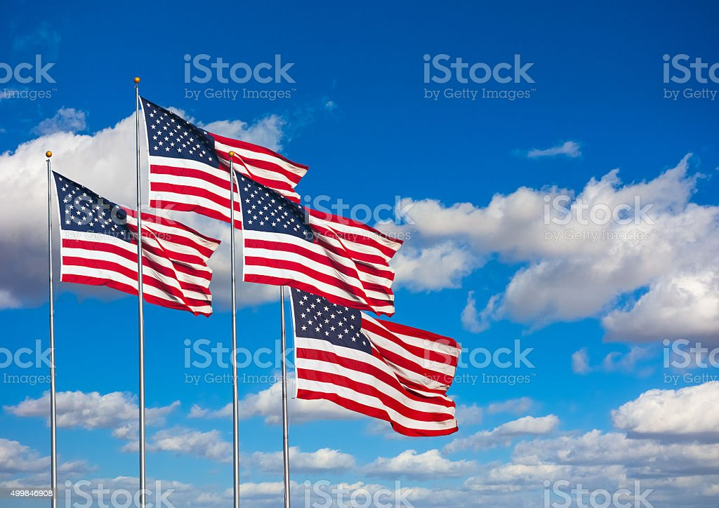 American flags display stock photo