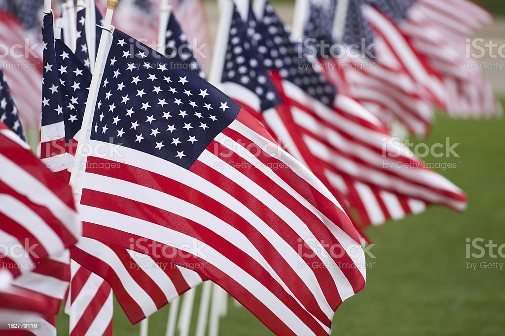 American flags fill the frame. stock photo