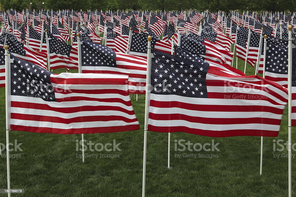 American flags fill the frame. royalty-free stock photo