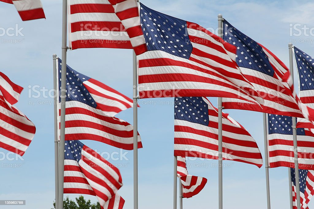 American Flags Group 2 stock photo