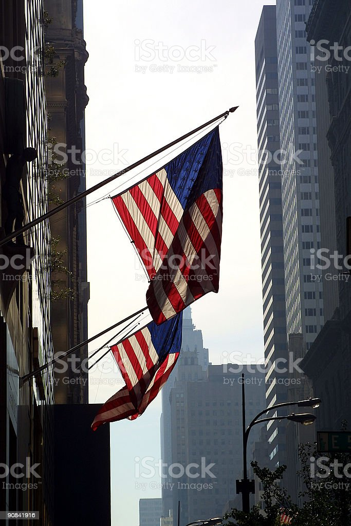 American Flags Hanging In New York royalty-free stock photo