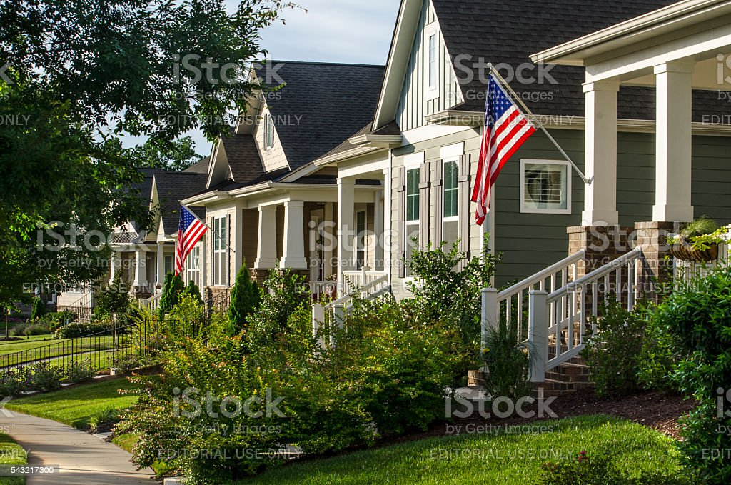 American Flags Hanging to Celebrate the American Dream stock photo
