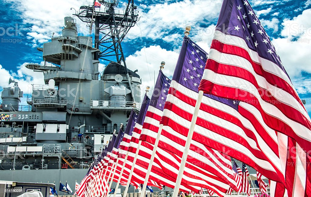 American Flags in Front of the USS Missouri stock photo