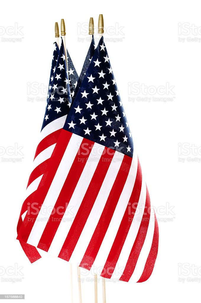 American Flags Isolated on White royalty-free stock photo