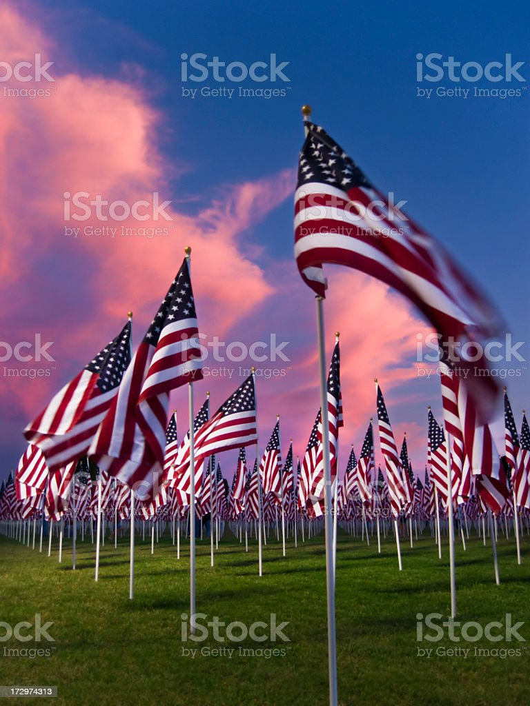 American Flags on September 11 - 9/11 royalty-free stock photo
