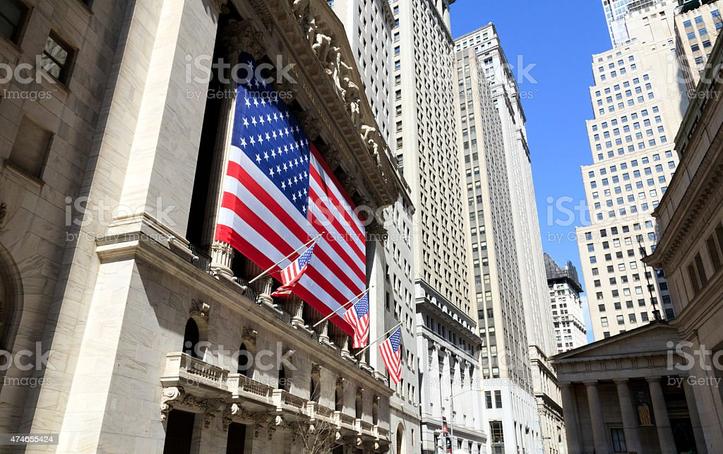 American Flags on the Office Building stock photo