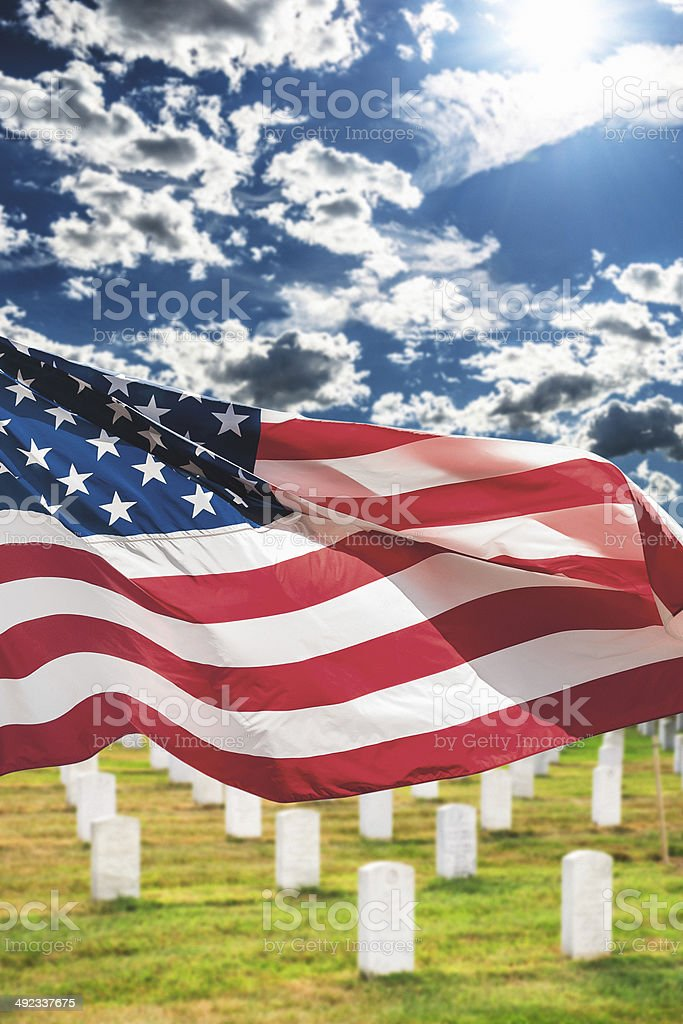 american flags waving for memorial day royalty-free stock photo