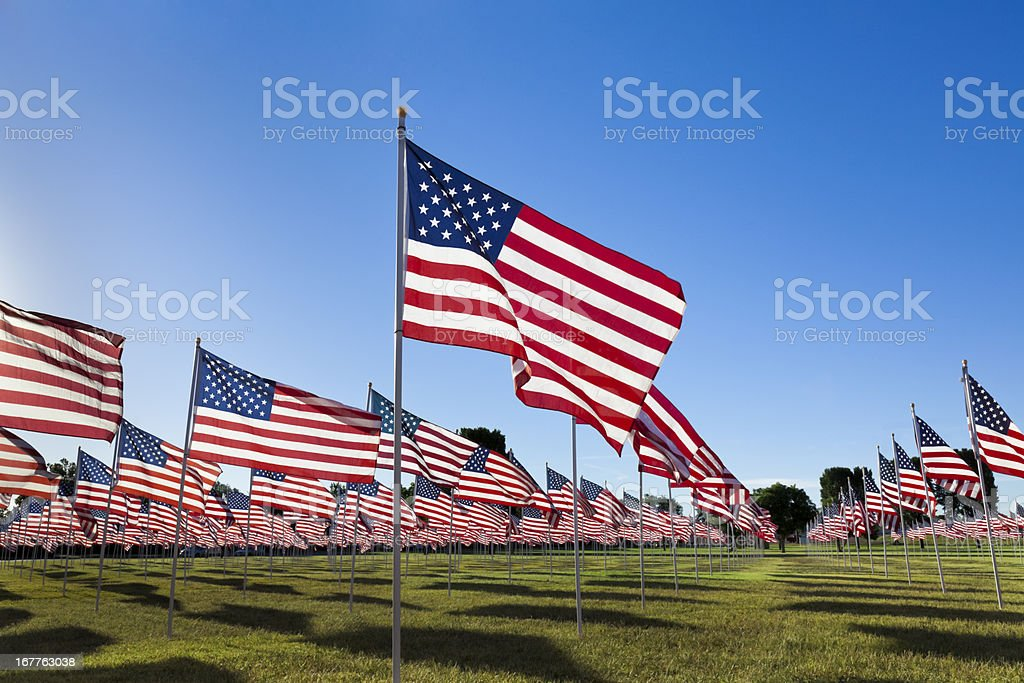 American Flags with Blue Sky stock photo