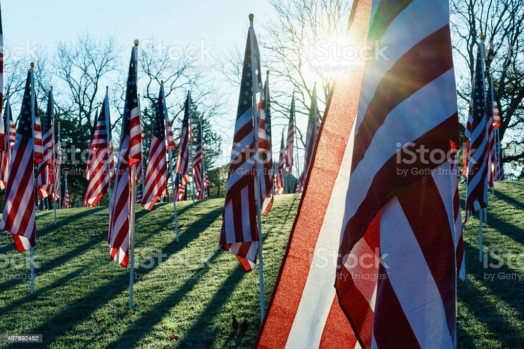 American flags with sun flare stock photo