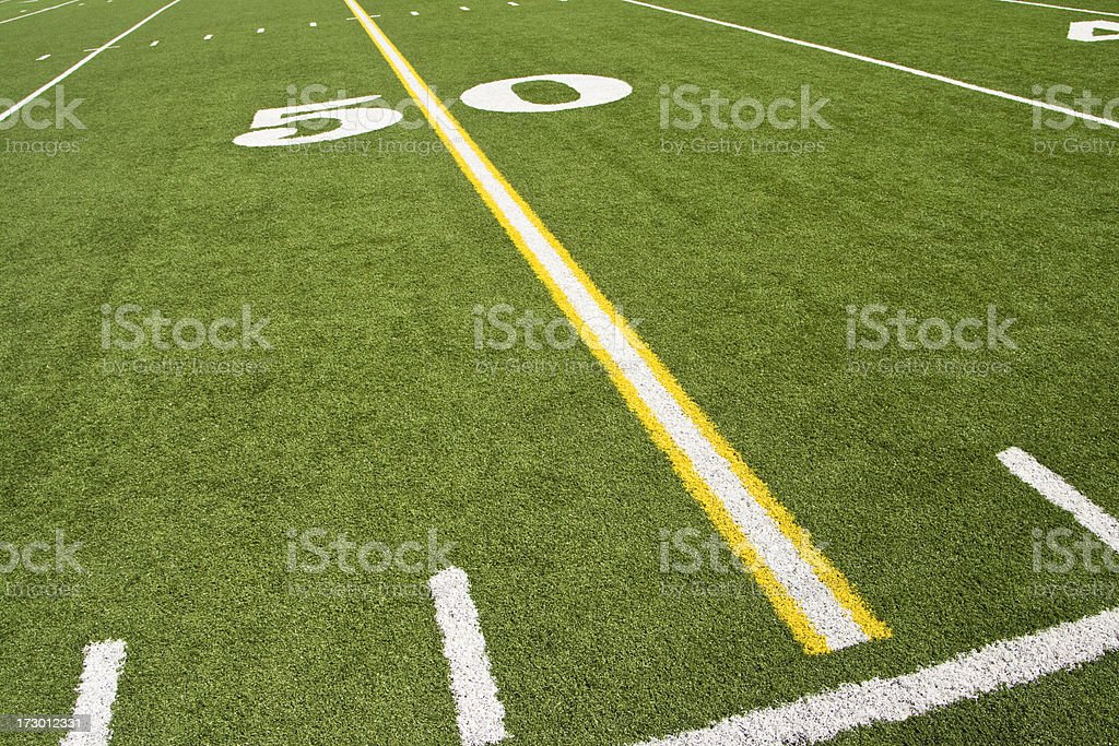 \'The 50 yard line from an American football field, angled left.Click...