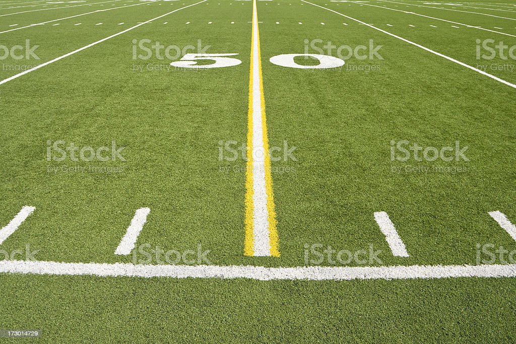 American Football 50 Yard Line - Straight stock photo